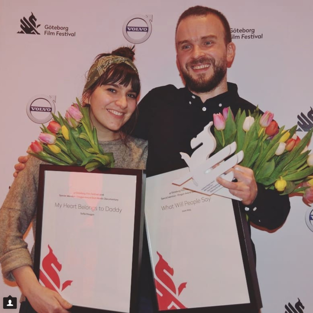 Sofia Haugan (Left) with her Special Jury Mention at the 41st Göteborg Film Festival. She is here with a fellow director who won a prize for his film, What will people say.